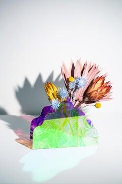 """Mtn Vase"", Abstract Sculpture, Vase, Vessel, Translucent, Colorful, Reflective"