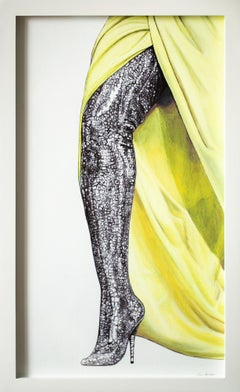 """(Un)Becoming"", Figurative Oil Pastel and Pen Drawing of Legs, Michelle Obama"