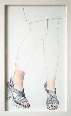 """Polished"", Figurative Oil Pastel and Pen Drawing, Portrait of Legs"
