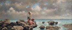 """Nicholas Butler copy of  """"Pescatori di telline"""" Oil on canvas"""