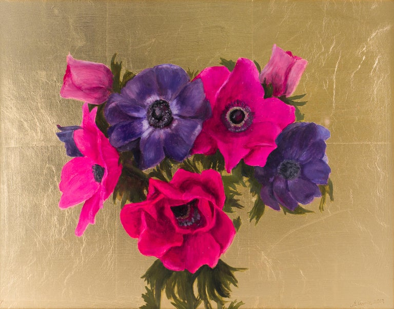 Nicola Currie Still-Life Painting - Anenomes, Oil Paint and Gold Leaf Painting