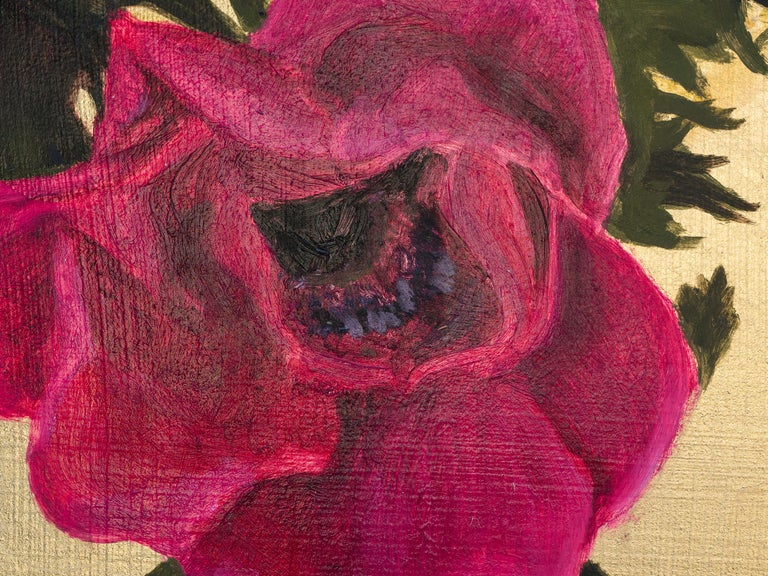 Anenomes, Oil Paint and Gold Leaf Painting For Sale 2