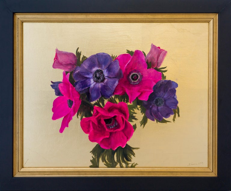Anemones  Oil painting on board and imitation gold leaf  The artist has used gold leaf to enhance the jewel-like colours of the anemones. The painting formed part of an  exhibition at RHS Rosemoor in Devon, England  Framed in a double black and gold