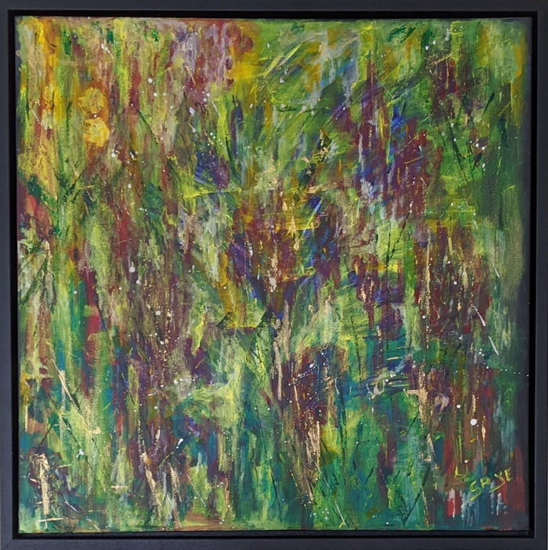 Flowers 5:  Contemporary Expressionist Painting - Brown Landscape Painting by Gaye Daniels