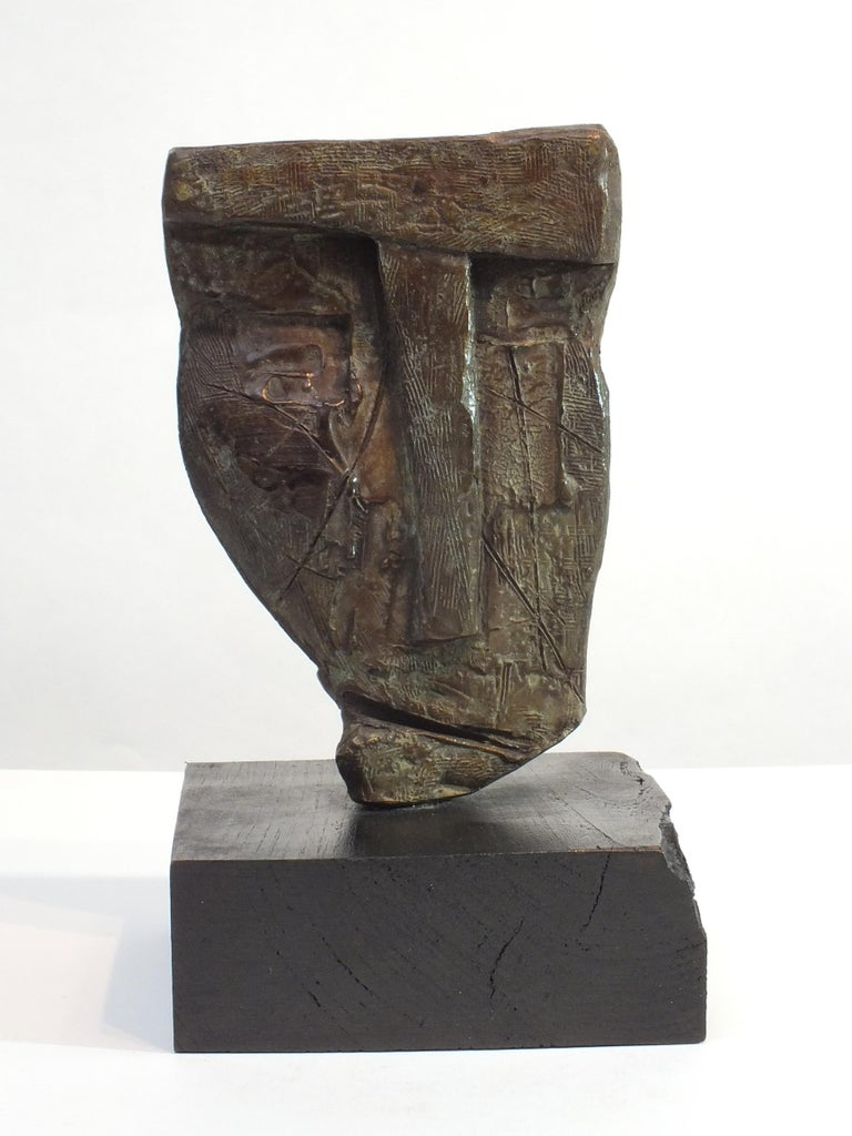 Sentinel 1,  Contemporary Cast Bronze Sculpture - Gold Nude Sculpture by Tim Rawlins