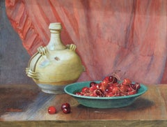 Bowl Of Cherries. 1920s Watercolor