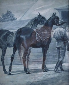 Bring The Horses Home, Watercolor by American Artist Richard Caton Woodville
