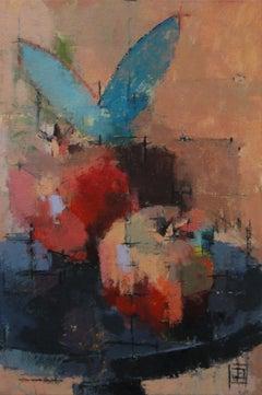 """Pomegranates"": Contemporary Still Life, Oil On Canvas"