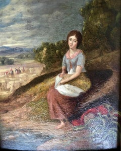 The Gleaner. Victorian Portrait, Oil On Board