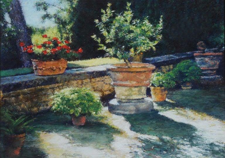 Keith Bowen Landscape Art - Flower Pots: Contemporary Pastel Still Life Painting