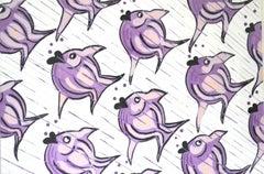 Lilac Fish, Contemporary Watercolor
