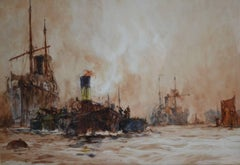 Shipping On The River Thames, London by Charles Dixon. Watercolour