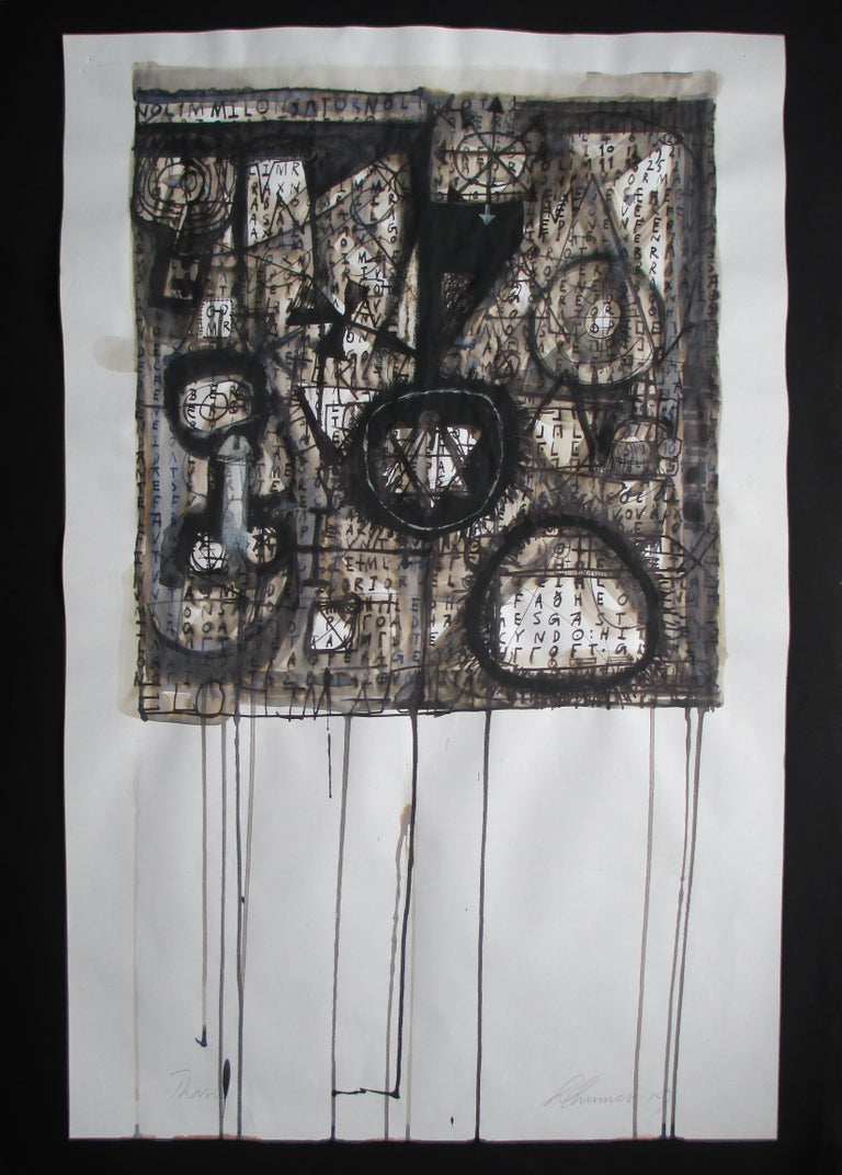 """Wayne Summers Abstract Drawing - """"Thorns"""" .   Ink On 19th Century Paper"""