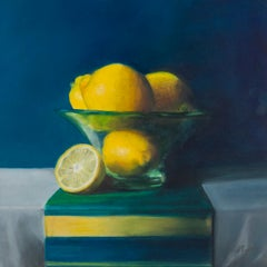 Lemons In A Frosted Glass Bowl. Contemporary Still Life