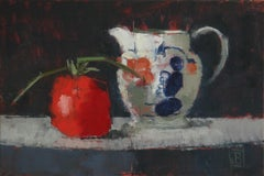 """""""Gaudy Jug With Tomato"""": Contemporary Still Life, Oil On Canvas"""