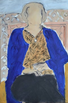 Sarah Jane In Blue: Contemporary Mixed Media Figurative painting by John Emanuel