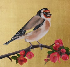 Goldfinch on Gold with Japonica Blossom.    Oil Paint and Gold Leaf Painting