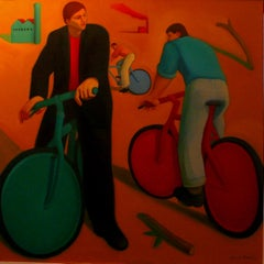 Chromatic Bicycles.  Contemporary Figurative Oil Painting