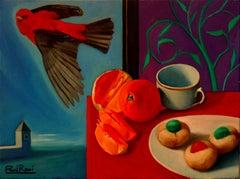 Breakfast With Bird   Contemporary Still Life Oil Painting