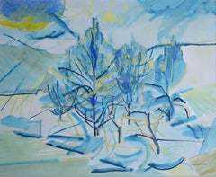 Blue Trees. Contemporary Landscape Painting