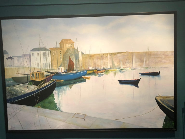 Tranquil Harbour. Large Contemporary Landscape Painting 1