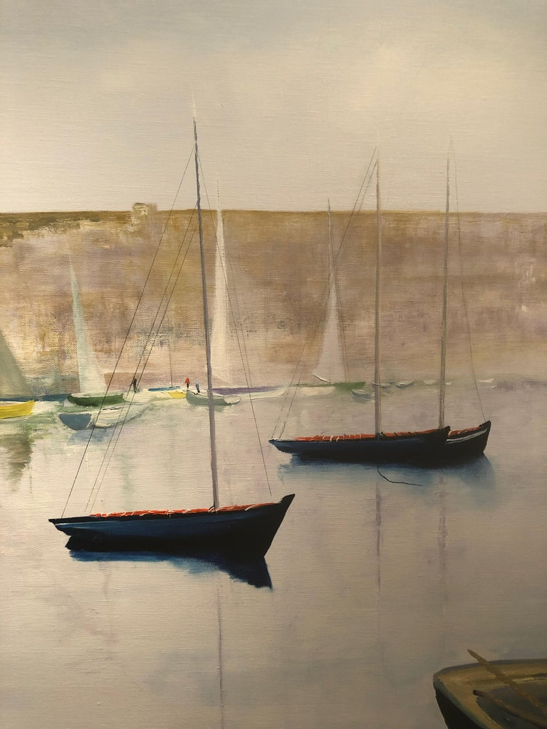 Tranquil Harbour. Large Contemporary Landscape Painting 3