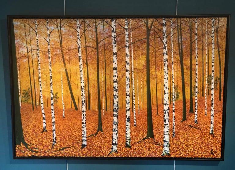 Golden Birches.    Large Contemporary Landscape Painting For Sale 1