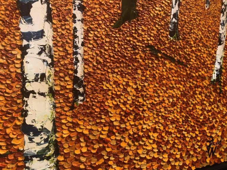 Golden Birches.    Large Contemporary Landscape Painting For Sale 2
