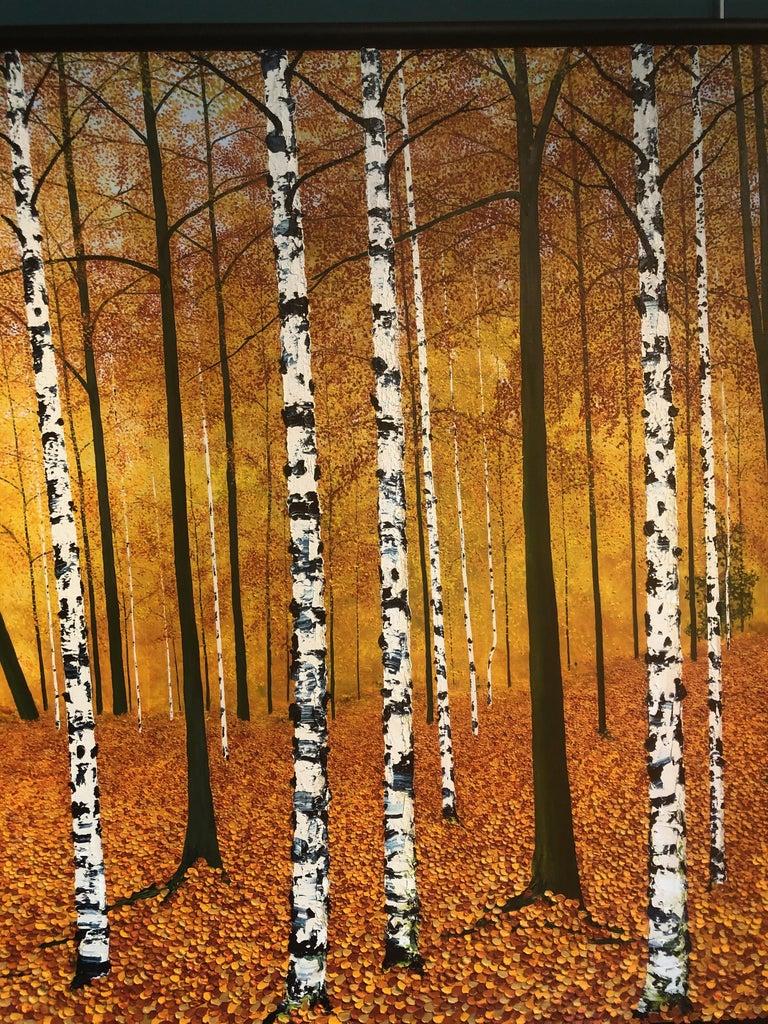Golden Birches.    Large Contemporary Landscape Painting For Sale 3