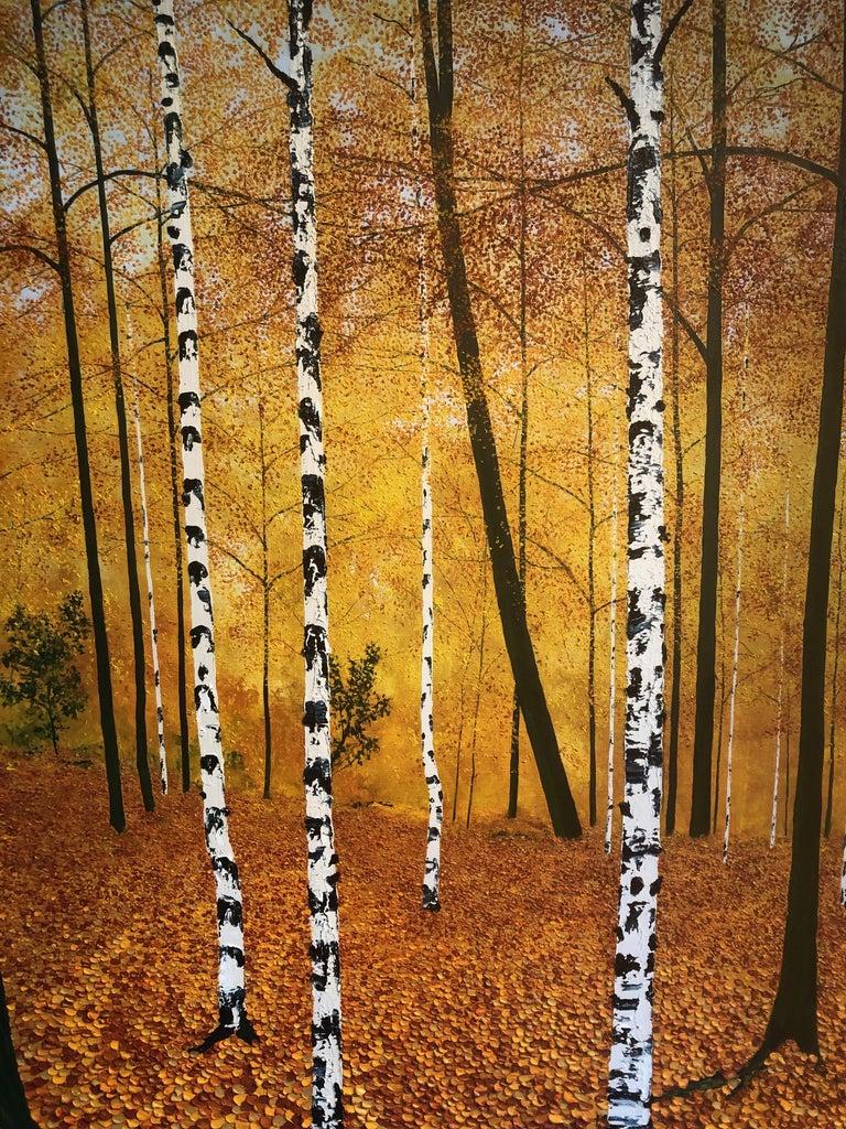 Golden Birches.    Large Contemporary Landscape Painting For Sale 4