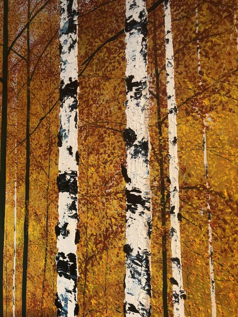 Golden Birches.    Large Contemporary Landscape Painting For Sale 5