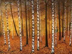 Golden Birches.    Large Contemporary Landscape Painting