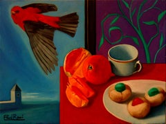 Breakfast With Bird   Contemporary Still Life Oil Painting