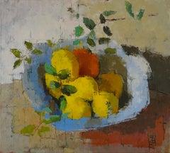 Square Bowl: Contemporary Still Life, Oil On Canvas