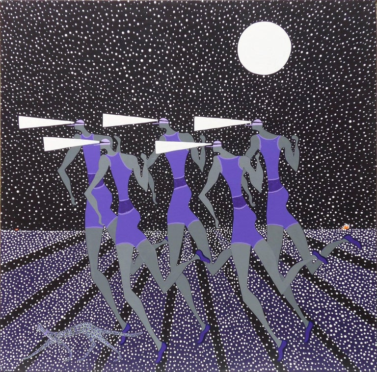 Walshe Figurative Painting - Midnight Runners.  Contemporary Oil Abstract Painting