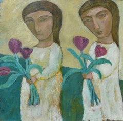 """""""Two Girls"""". Contemporary Figurative Painting"""