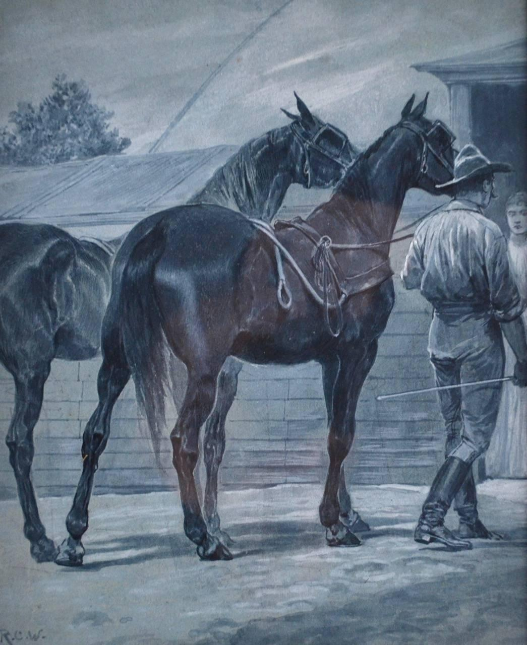 Bring The Horses Home, Watercolor by Richard Caton Woodville Jnr.