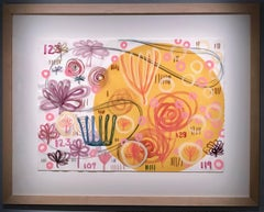 Passing Time,  mixed media on paper, yellow, pink, lavender, Melanie Yazzie