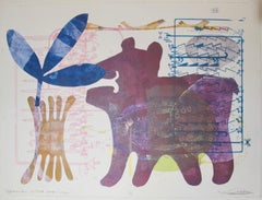 Special Little One-1966, Melanie Yazzie Navajo monotype painting paper bear blue