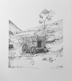 The Wagon, by John T. Fitzgerald, black and white print old west wagon desert
