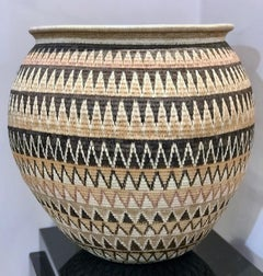 Basket by Elsa Quiros, Geometric gold black white tan designs Panama Rainforest