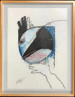 Crow Steals the Moon by Rick Bartow, pastel on paper framed, blue, red, black