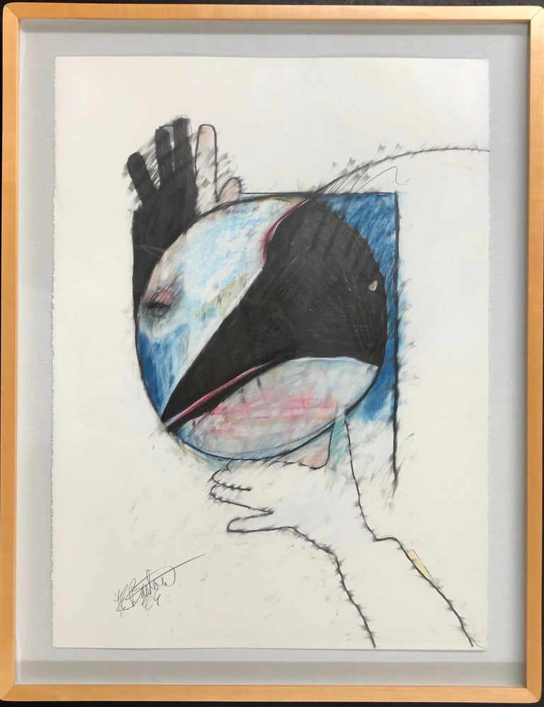 Crow Steals the Moon by Rick Bartow, pastel on paper framed, blue, red, black  For Sale 1