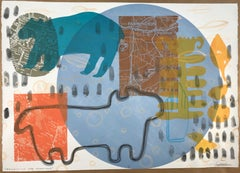 Protecting the Dreamers, monotype, screen print, bear, dog, bird, maps, signed
