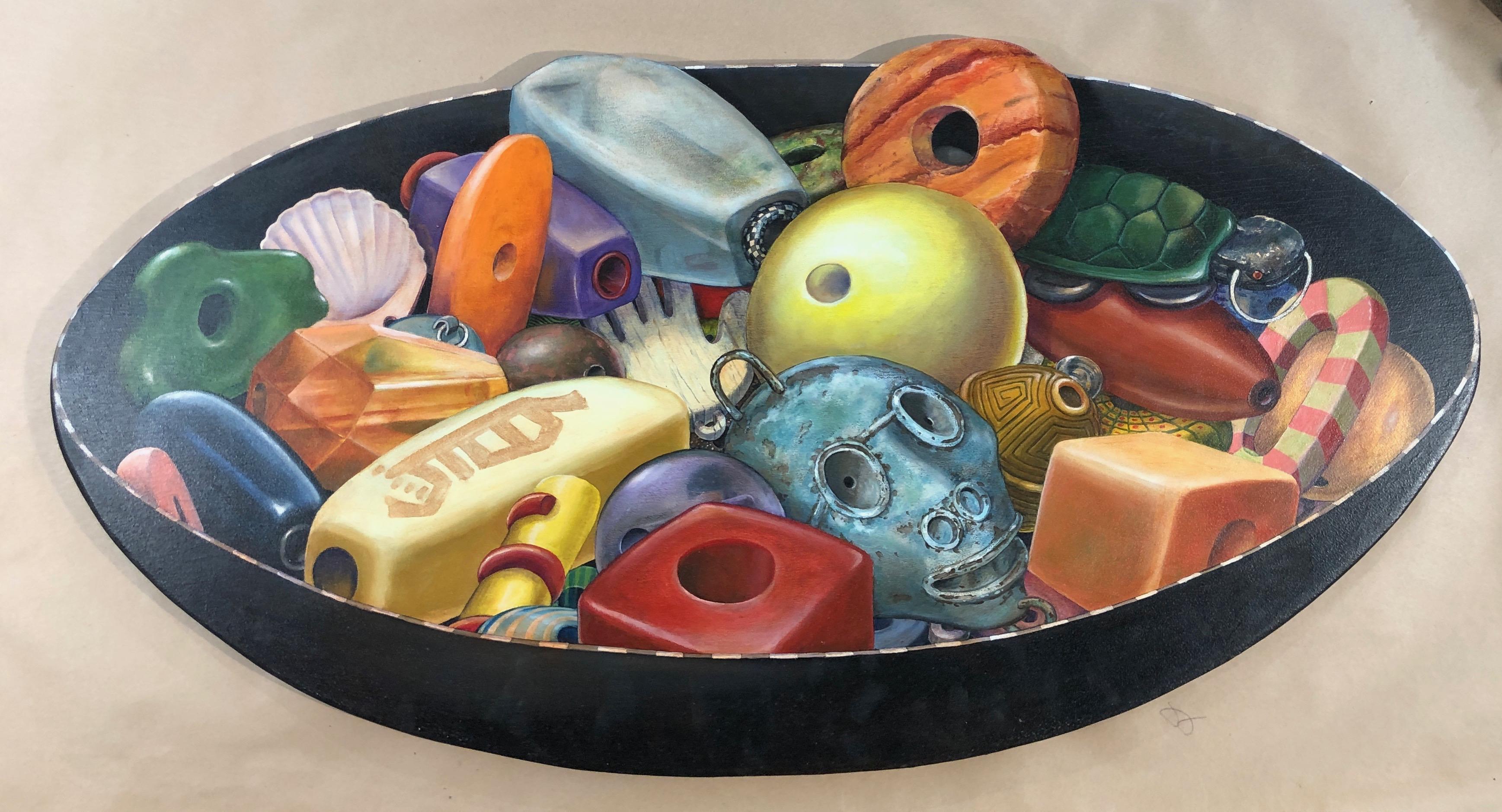 Bowl of Beads,trompe l'oeil painting on birch wood panel, black, green, orange