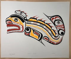 Kwakiutl Sculpin, color screen print edition, signed, First Nations Canada