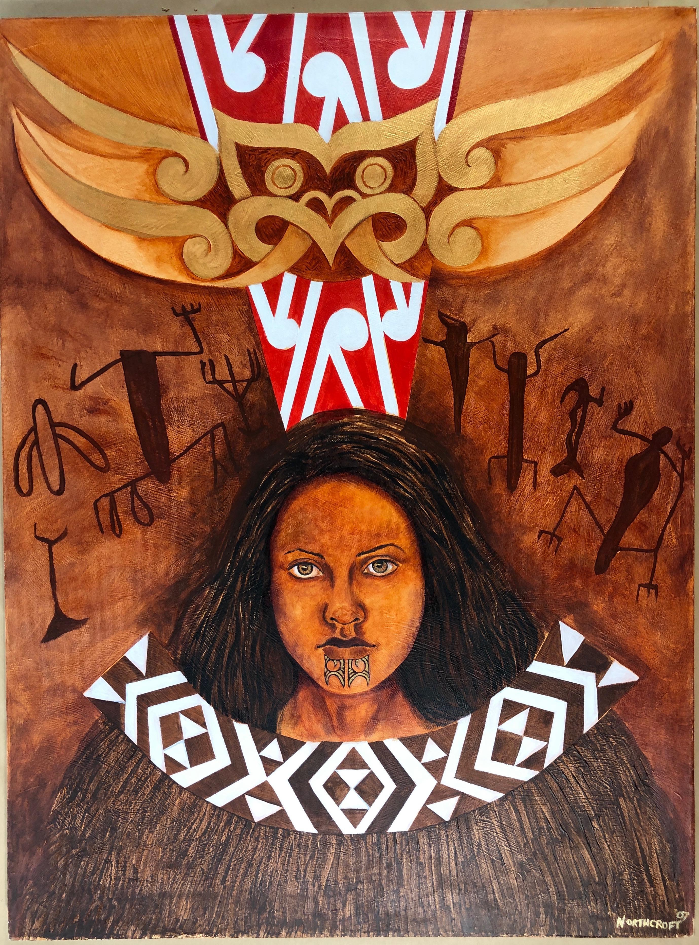 Kia Tupato Mokopuna (Be Vigilant Granddaughter), acrylic on canvas, Maori art