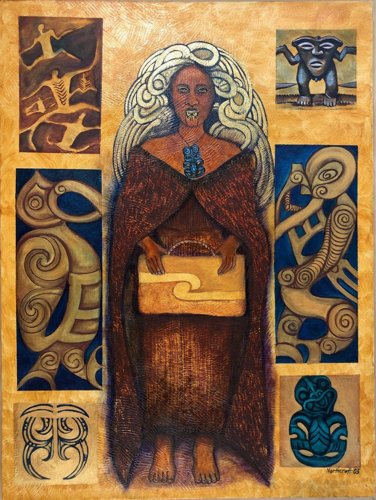 June Northcroft Grant Figurative Painting - Legacy Series: Leaving Behind, contemporary painting, Maori art, figurative
