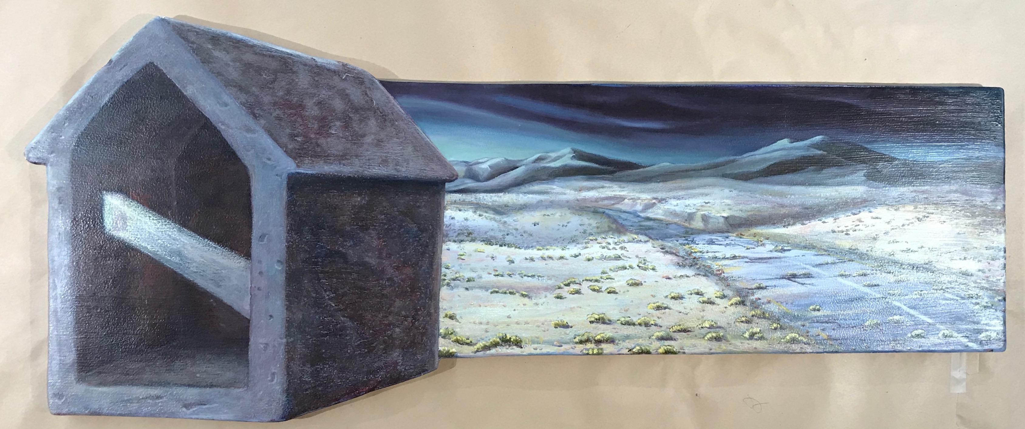 Ancient Highway, trompe l'oiel, oil painting, ruins, road, western landscape