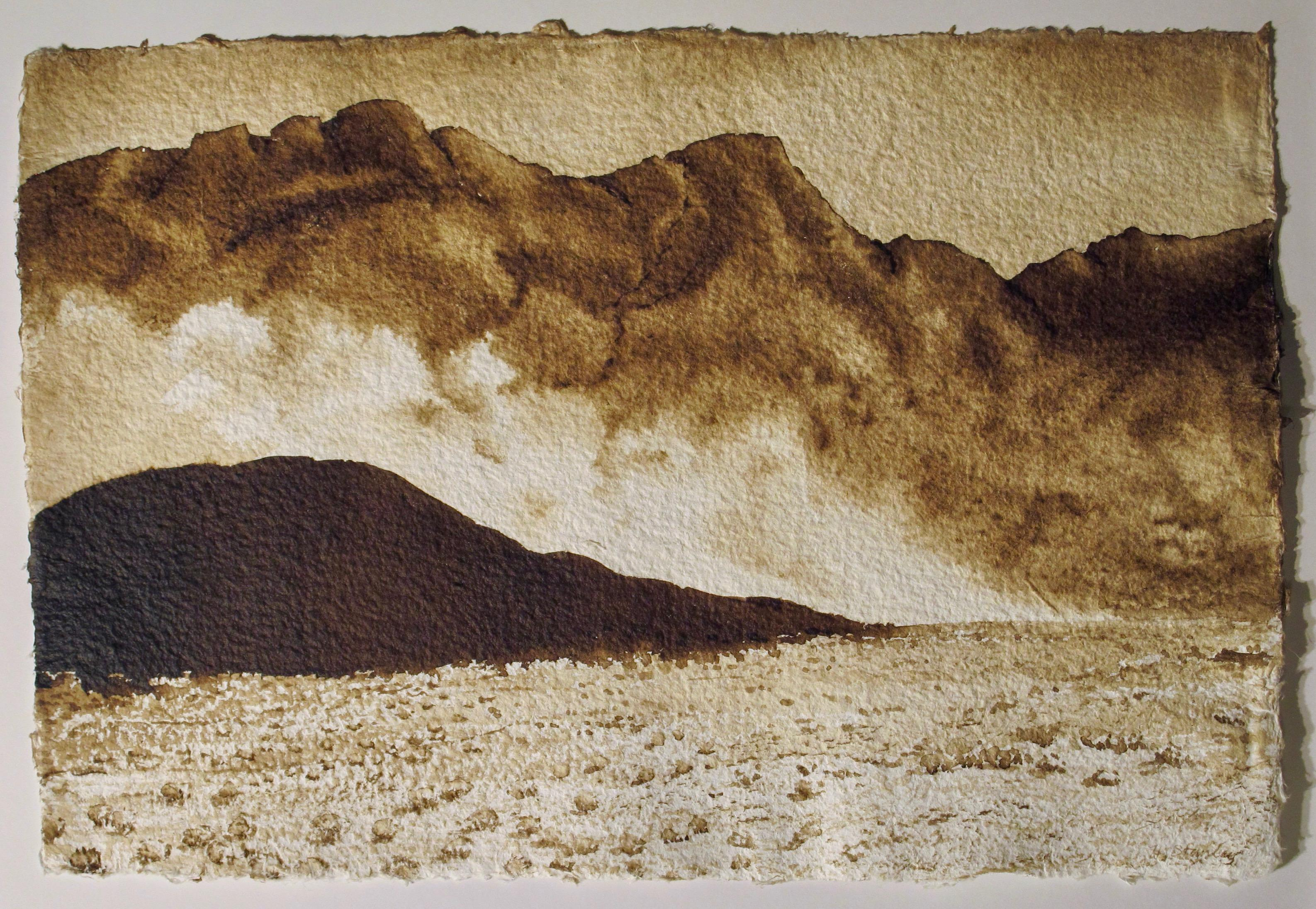 Amboy Crater, Southern California, painting on paper, walnut ink, landscape